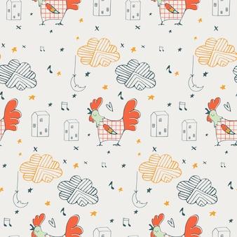 Seamless pattern with cute doodle roostercartoon desenhado à mão
