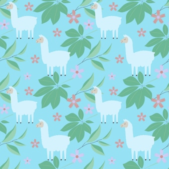 Seamless pattern with lama, flores e folhas