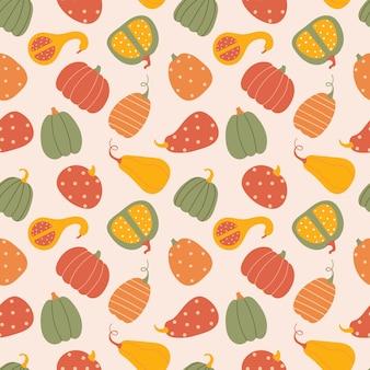 Seamless pattern with pumpkins textura de outono de vetor em estilo simples, sobre um fundo rosa claro.