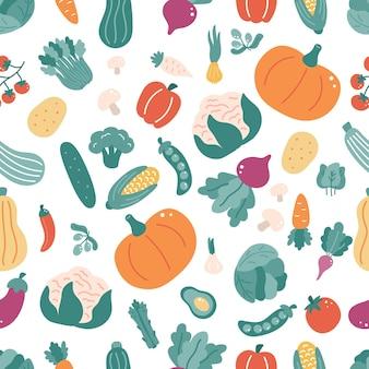 Seamless pattern with vegetables comida de doodle desenhado de mão.