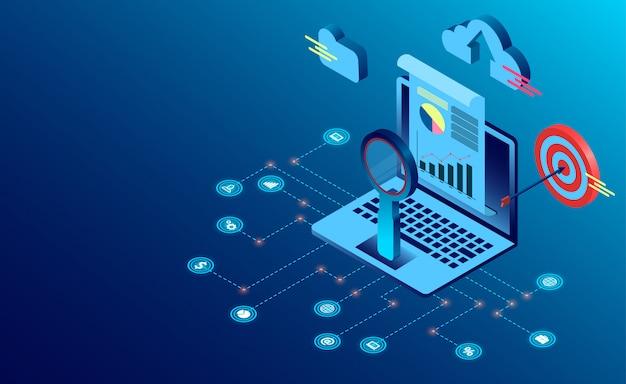 Search engine analytics seo sucesso em estilo plano