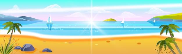 Seascape de estoque tropical com palmeiras, areia, velas, nuvens, espuma de surf.