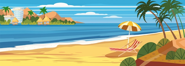 Seascape de verão, praia, férias de verão, chaise lounge guarda-chuva no mar