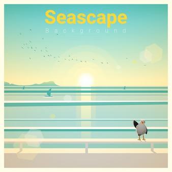 Seascape fundo com vista para o mar da manhã