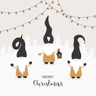 Season greetings.vector cartão de natal com gnomos pequenos bonitos.