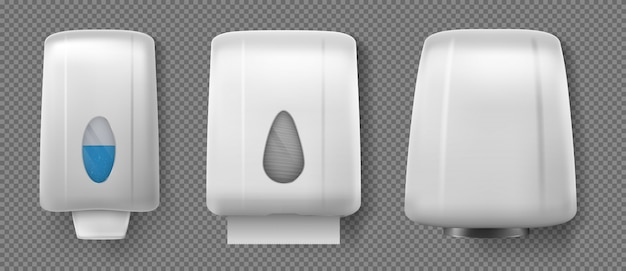 Secador de mãos, dispensadores com sabão e papel toalha