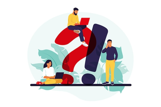 Seção de perguntas frequentes do site. help desk do usuário. conceito de suporte ao cliente. ilustração. apartamento.