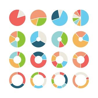 Seção do círculo. centro circular da roda do gráfico redondo com modelo de infográfico de negócios de torta de rosca de seção diferente. diagrama circular de ilustração, gráfico redondo