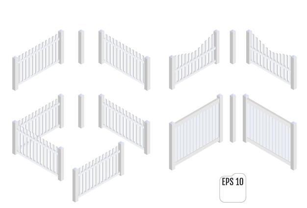 Seções de cerca branca isométrica. construtor de esgrima.