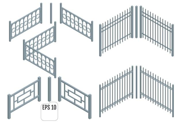 Seções de cerca de metal isométrica.