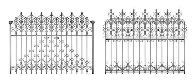Seções de cerca forjada decorativas ou portões com ornamento elegante, retro realista