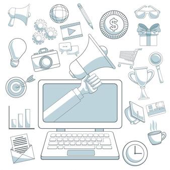 Seções de cor de fundo branco ícones de marketing digital com dispositivo portátil com mão segurando um megafone