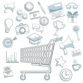 Seções de cores de fundo branco ícones de marketing digital com carrinho de compras