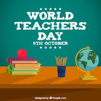 Secretária do professor com livros, lapis e um globo