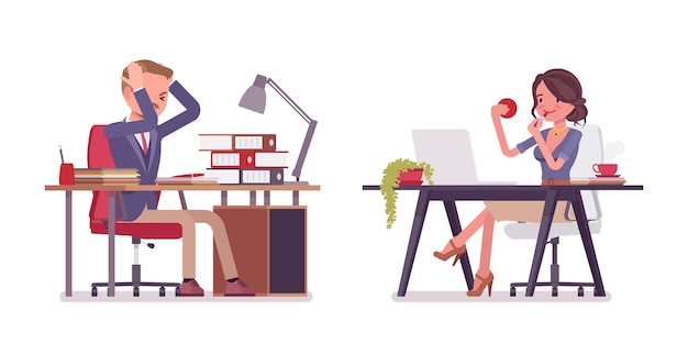Secretária masculina e feminina no escritório