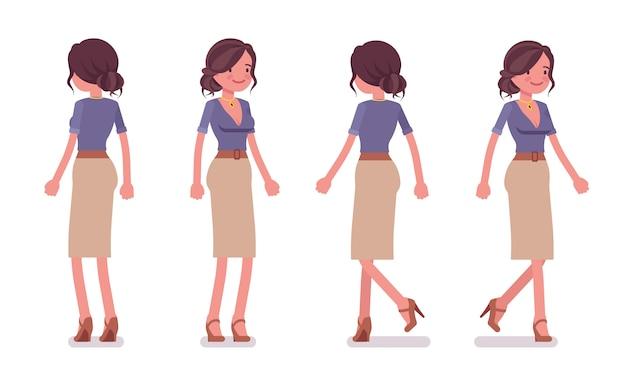 Secretária sexy em pé e andando. assistente de escritório feminino elegante. conceito de administração de empresas. estilo cartoon ilustração sobre fundo branco, vista frontal e traseira