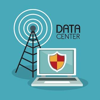 Secure laptop e antena de telecomunicações