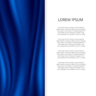 Seda azul, modelo de plano de fundo ondulado material cetim