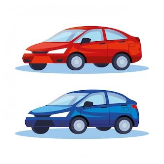 Sedan carros veículos transporte ícones ilustração design