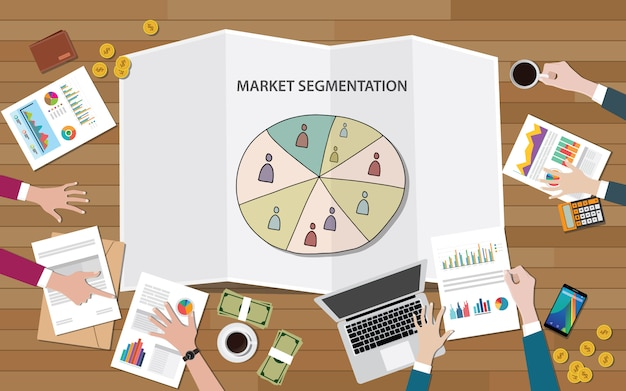 Segmentação de marketing de mercado com grupo de pessoas no segmento