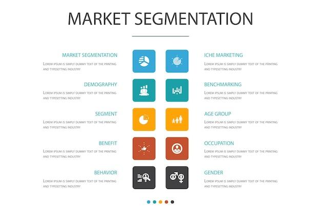 Segmentação de mercado modelo de design de nuvem infográfico. demografia, segmento, benchmarking, ícones simples de grupo de idade
