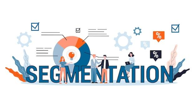 Segmentação no conceito de negócio e marketing. promoção de produtos para diferentes grupos de pessoas. estratégia eficaz. ilustração