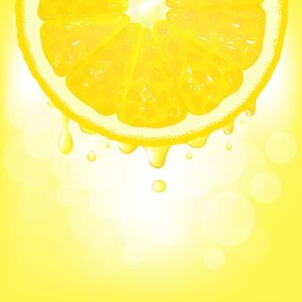 Segmento de limão com suco e bokeh