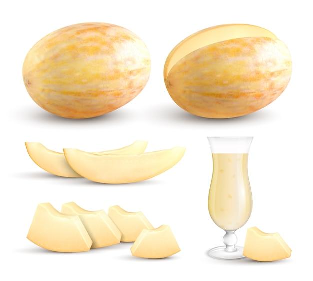 Segmentos inteiros frescos maduros de meloen amarelos mordem pedaços de tamanho e coleção de imagens de close-up realista de suco