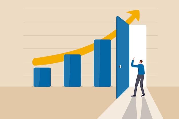 Segredo do sucesso empresarial, ideia de fazer negócios crescer e atingir o conceito de destino