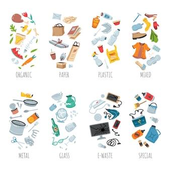 Segregação de coleta de lixo e ilustração de reciclagem de tipos de lixo