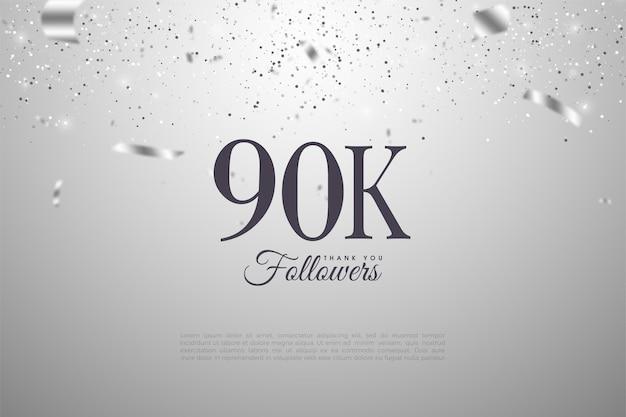 Seguidores de 90k com números e fita prateada.