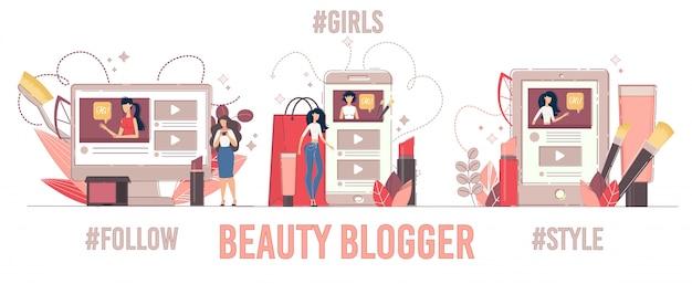 Seguidores de apresentação do blogger de beleza aumentam o conjunto