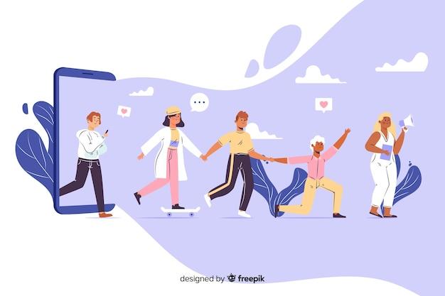 Seguidores na ilustração do conceito de linha