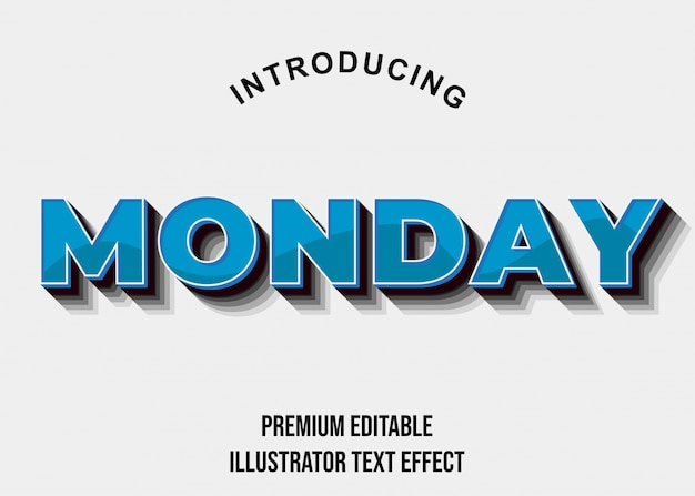 Segunda-feira - efeito de texto em 3d bold (realce) azul