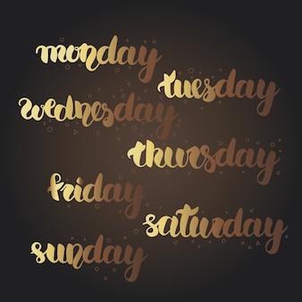 Segunda-feira, terça-feira, quarta-feira, quinta-feira, sexta-feira, sábado, letras de domingo