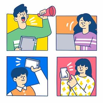 Segundo conjunto de ilustração divertida e criativa de videoconferência