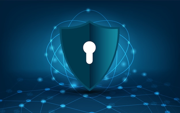 Segurança azul net escudo | Vetor Premium