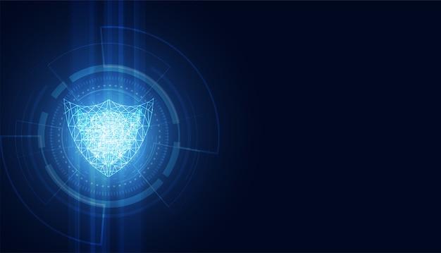 Segurança cibernética abstrata com tecnologia de círculo azul do escudo