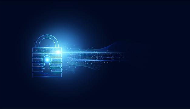 Segurança cibernética abstrata com velocidade de onda azul do cadeado