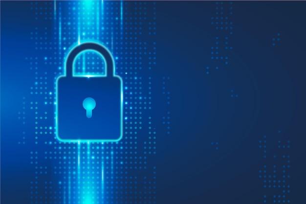 Segurança cibernética com cadeado digital