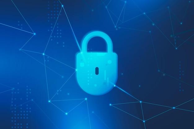 Segurança cibernética com cadeado futurista