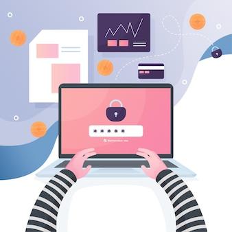 Segurança cibernética com laptop
