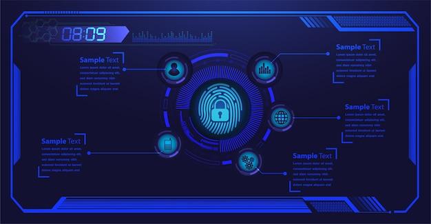 Segurança cibernética de rede hud de impressão digital.