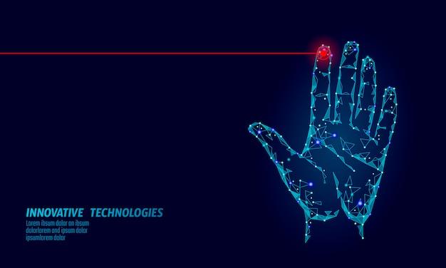 Segurança cibernética de varredura manual de baixo poli. identificação pessoal, impressão digital, código de identificação de impressão digital. acesso à segurança dos dados da informação. vetor de verificação de identidade de tecnologia biométrica de rede internet futurista