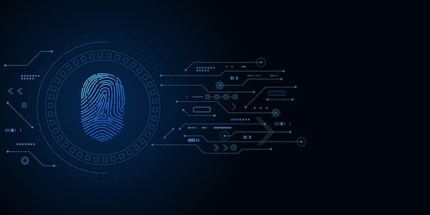 Segurança cibernética e controle de senha através de impressões digitais, acesso com identificação biométrica