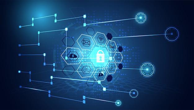 Segurança cibernética ícone de privacidade rede de informações