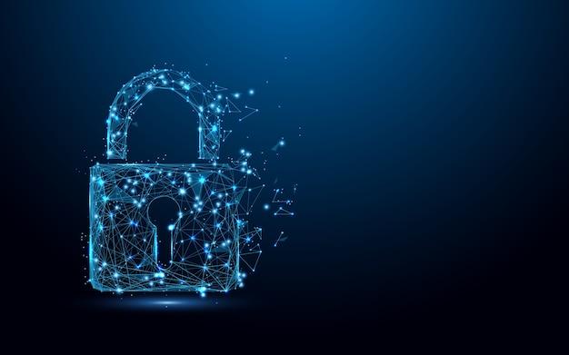 Segurança cibernética lock partícula de linhas de forma de símbolo