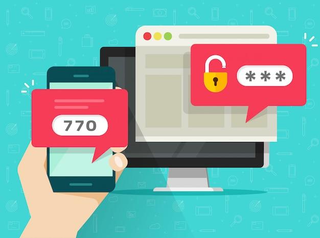 Segurança de autenticação em duas etapas ou verificação em duas etapas por telefone celular ou telefone celular e computador