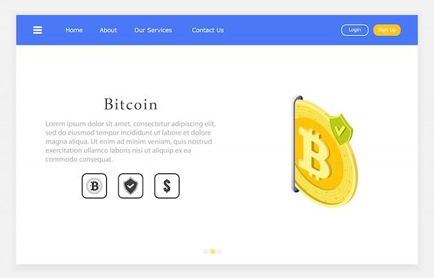 Segurança de bitcoin, ilustração isométrica de bitcoin com escudo de segurança.