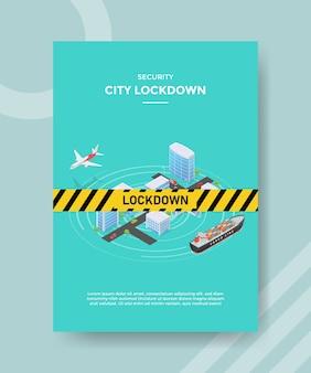 Segurança de cidade bloquear linha de aviso em construção de cidade, transporte de rua avião navio para folheto modelo